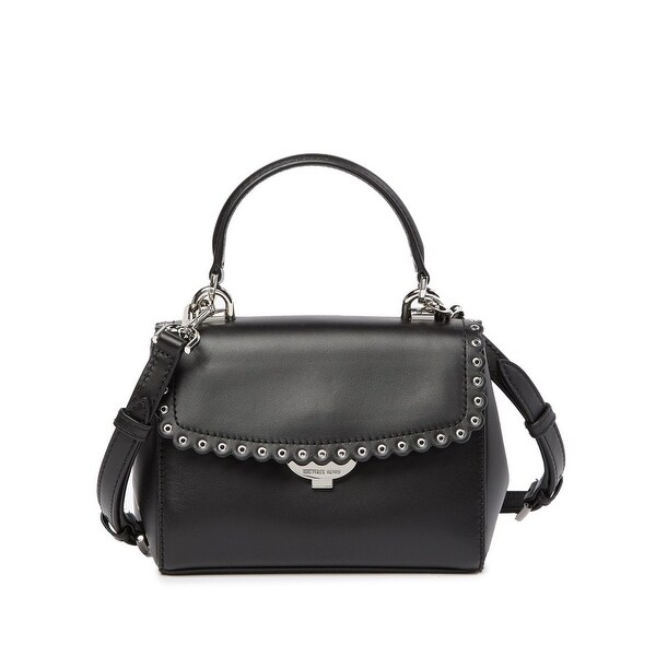 04537691f336 MICHAEL Michael Kors Extra Small Top Handle Leather Crossbody Bag Black/Silver  - One Size