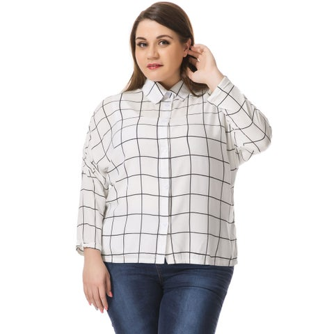 Allegra K Women's Plus Size Hi-Lo Hem Batwing Sleeve Checked Shirt - White