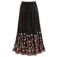 Catalog Classics Women's Floral Embroidered Flowering Vines Maxi Skirt - Black