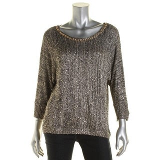 XOXO Womens Juniors Marled Chain Trim Pullover Sweater - L