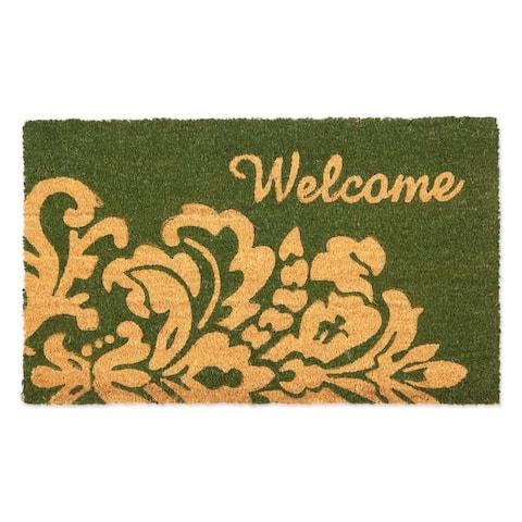 """30"""" Green Vinyl Back Rectangular Welcome Doormat"""