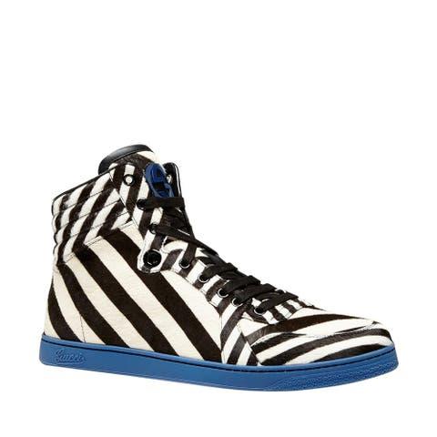 Gucci Men's Multi-Color Zebra Print Calf Hair High top Sneaker 353412