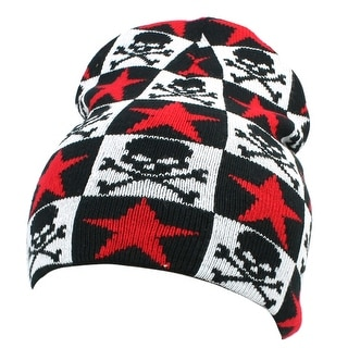 Shop Unique Bargains Unisex Black Skull Red Stars Print Knitted Elastic Beanie  Hat - On Sale - Free Shipping On Orders Over  45 - Overstock - 18449067 e21eefbd3b8