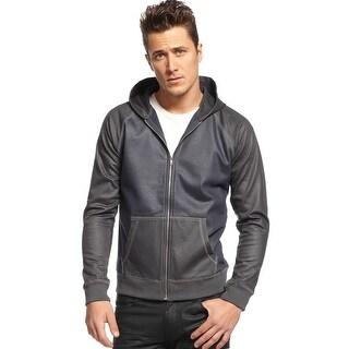 INC International Concepts Full Zip Shiny Coated Hooded Sweatshirt Grey X-Large