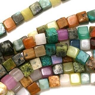 Gemstone Cube Bead Mix 4 x 4mm Beads /15.5 Inch Strand