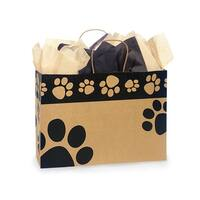 "Pack Of 25, Vogue 16 x 6 x 12"" Paw Print Recycled Kraft Shopping Bags Made In Usa"
