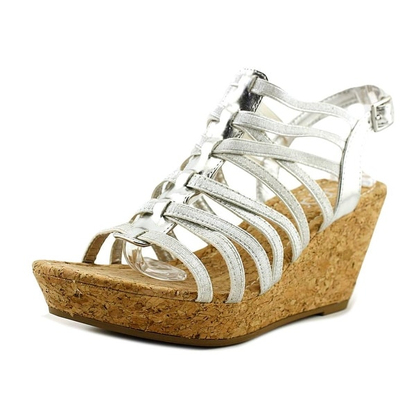 Sugar Jurrasic Women Open Toe Canvas Silver Wedge Sandal