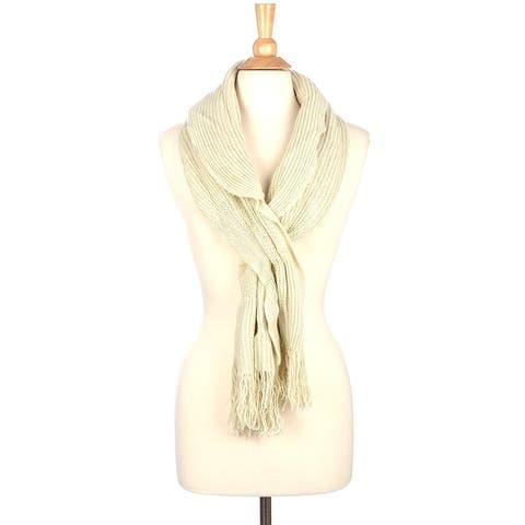 Winter Knit Slit Scarf with Fringe