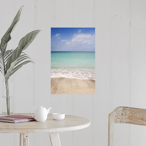"""""""Beach scene with blue sky, turquoise water and white sand. Sarasota Florida"""" Poster Print"""