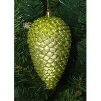 "6ct Green Kiwi Shatterproof Glitter Pine Cone Christmas Ornaments 6.5"""