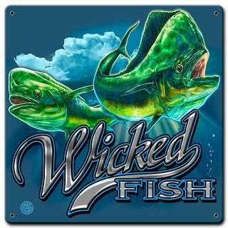 Past Time Signs ERA028 Mahi Wicked Fishing Sign - 12 x 12 in.