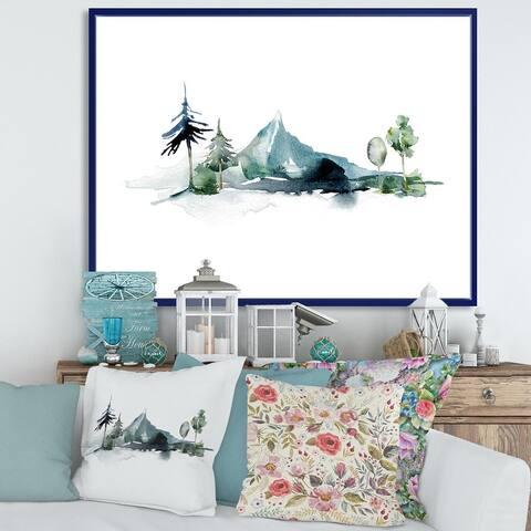 Designart 'Minimalistic Winter Mountains and Fir Forest II' Modern Framed Canvas Wall Art Print