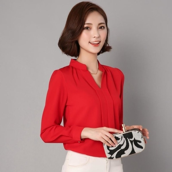 5f8c98b0cab78d Black Red White Chiffon Blouse Women Autumn Long Sleeve Ladies Office Shirts  Fashion Casual Slim Women