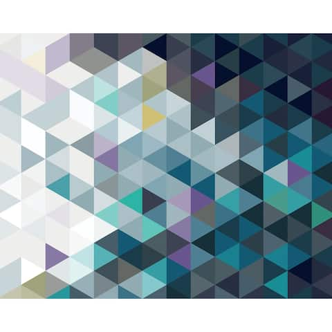 "Brewster WR50526 Wall Rogues 94"" x 118"" - Abstract Triangles - Non-Woven Wall Mural - 6 Panels - - Blue"