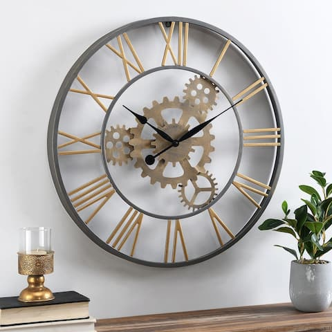 FirsTime & Co. Silver and Gold Benton Gears Clock, Metal
