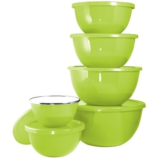 Calypso Basics by Reston Lloyd 12-Piece Enamel on Steel Bowl Set with Airtight Lids, Lime