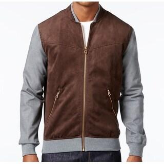 Sean John NEW Brown Coffee Mens Size XL Faux-Suede Full-Zip Jacket