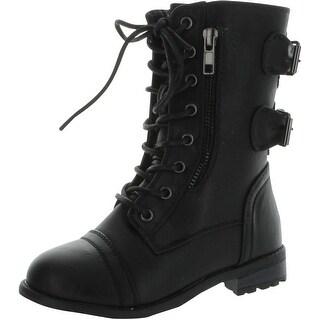 Link Mango-61K Girls Zipper Military Combat Boot