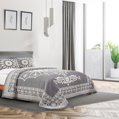 Miranda Haus Antique Medallion Cotton Blend Jacquard Bedspread Set