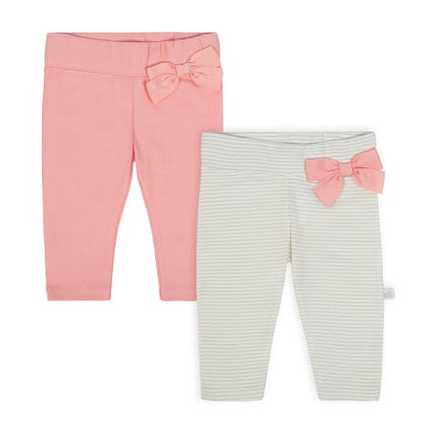 Baby Girl Just Born 2-pack Slim Pants - taupe/gray