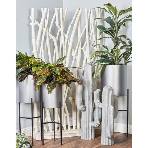 Set of 3 Modern Matte Drum Planters with Stand by Studio 350