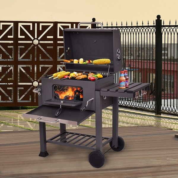 Backyard Charcoal Grill shop costway charcoal grill barbecue bbq grill outdoor patio