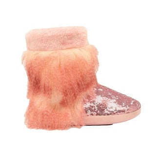 Blazin Roxx Slippers Womens Soft Boots Sequins Faux Fur Pink
