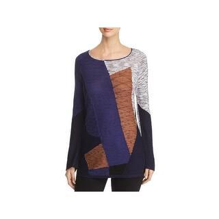 d79a57a62bb8ce Nic + Zoe Womens Geometry Sweater Linen Blend Long Sleeve