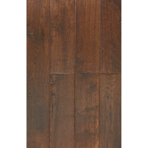 East West Furniture SP-5OH01 Interlock Hardwood Floor Tiles - Engineered Wood Flooring for Indoor, Oak Chestnut Finish