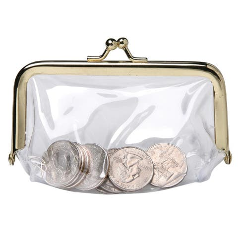 Change Coin Purse Pouch - See Through Clear Vinyl - See-Thru - One Size