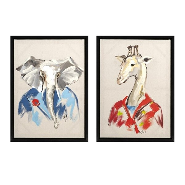 Set of 2 Dapper Elephant and Giraffe Painting on Canvas Framed Wall Art -  Blue - N/A