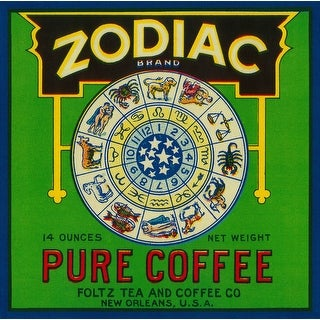 Zodiac Coffee - Vintage Label (100% Cotton Towel Absorbent)