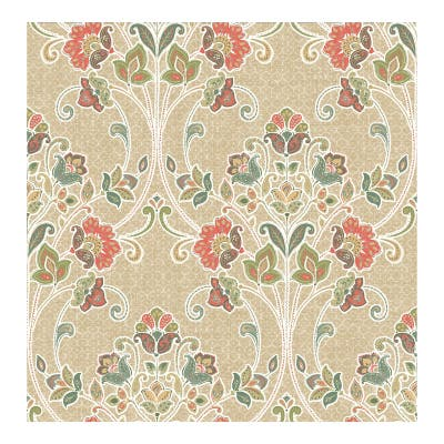 Willow Coral Nouveau Floral Wallpaper - 20.5in x 396in x 0.025in