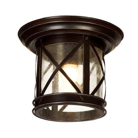 AA Warehousing 1 Light Outdoor Ceiling Mounted light in Sandy Black Finish