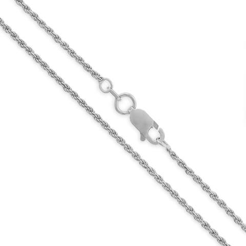 .925 Solid Sterling Silver 1.5MM Rope Diamond-Cut Link Rhodium Necklace Chain, Silver Chain for Men & Women, Made in Italy