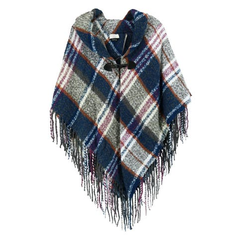 CTM® Women's Plaid Poncho Shawl with Toggle Closure - one size