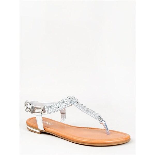 Bamboo Bryson-02 T-Strap Thong Flat Slingback Sandal