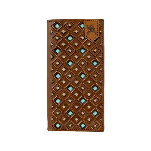 """HOOey Western Wallet Men Signature Roughy Rodeo Saddle Brown - 3 1/2"""" x 3/4"""" x 7"""""""