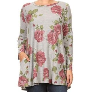 Women Plus Size Long Sleeve Floral Pattern Pocket Tunic Knit Top Tee Heather Grey 1517 FLO