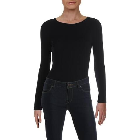 Aqua Womens Bodysuit Ribbed Open Back - Black