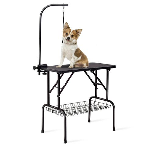 Gymax 32'' Foldable Pet Dog Cat Grooming Table Dog Show w/ Arm Noose Mesh Tray