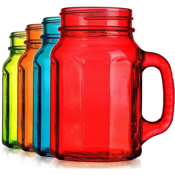 Palais Glassware Mason Jar Tumbler Mug with Handle - 17 Ounces - Set of 4 (Colored Paneled Shape)