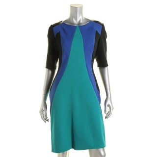 Julia Jordan Womens Colorblock Faux Trim Wear to Work Dress - 6