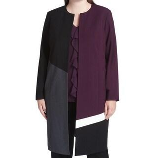 Calvin Klein Purple Womens 14W Plus Colorblock Open-Front Jacket