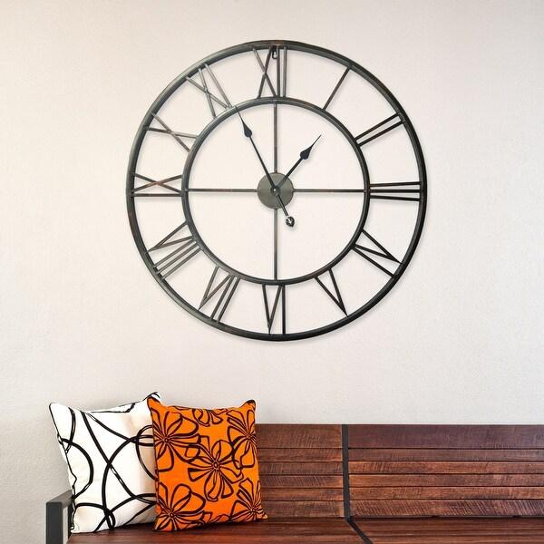 "Walplus Large Roman Black Silver Iron Wall Clock 30"" Diameter Decor. Opens flyout."