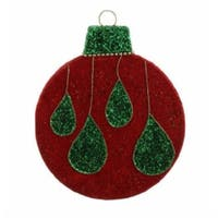 "12"" Shimmering Drops Giant Foam Ball Christmas Ornament - RED"