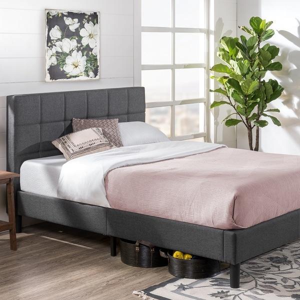 Porch & Den Jeannette Upholstered Square Stitched Queen-size Platform Bed with Wooden Slats