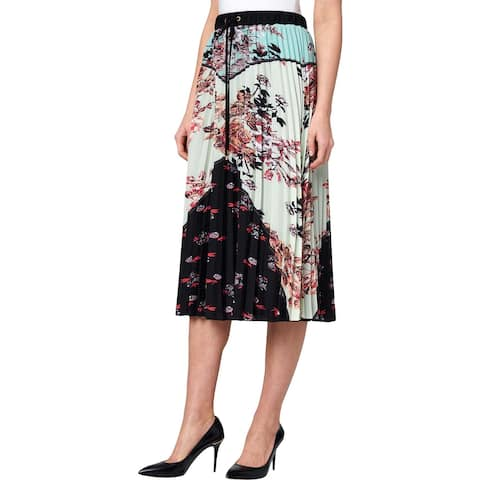 Juicy Couture Black Label Womens Midi Skirt Floral Pleated