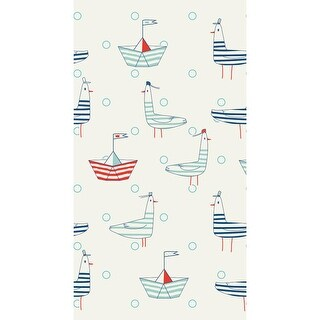 """Club Pack of 192 Ivory White and Blue Seagulls Nautical Disposable Party Napkins 8"""""""