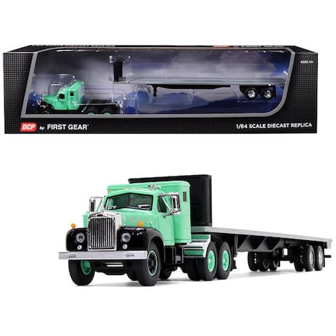 Mack B-61 with Sleeper Cab and 48\' Flatbed Trailer Antique Green 1/64 Diecast Model by DCP/First Gear